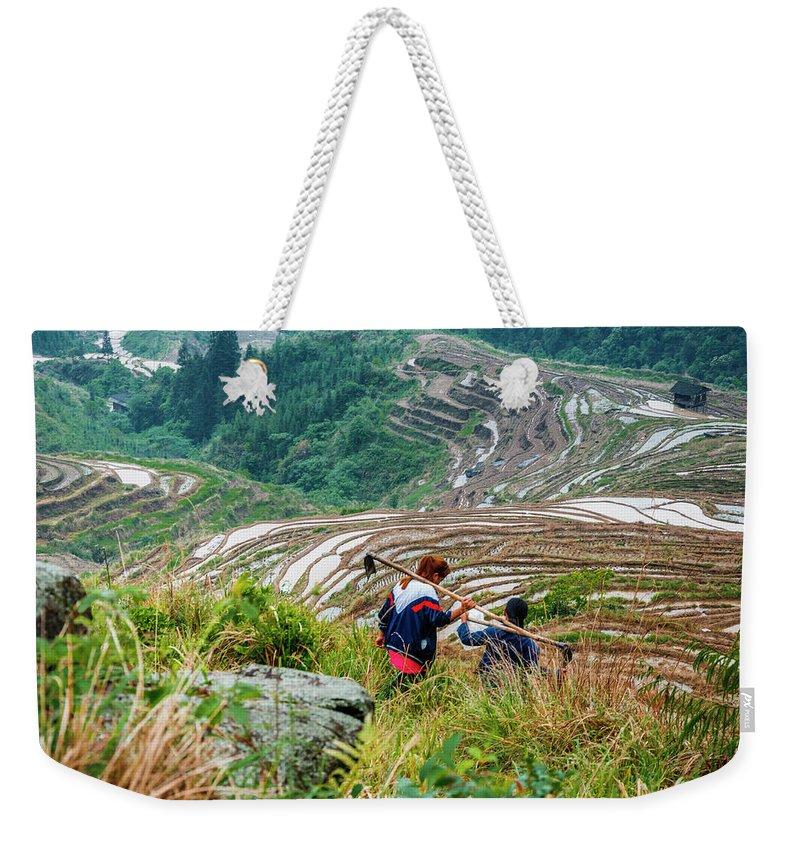 Terrace Weekender Tote Bag featuring the photograph Longji Terraced Fields Scenery by Carl Ning