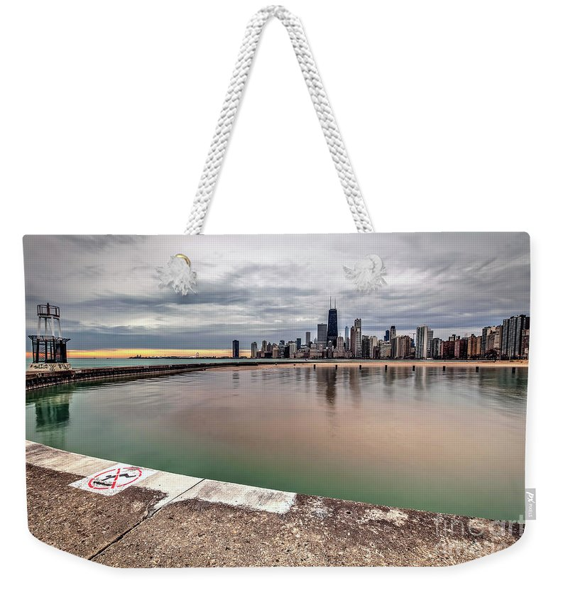 Chicago Weekender Tote Bag featuring the photograph 1323 A View From The Breakwall by Steve Sturgill