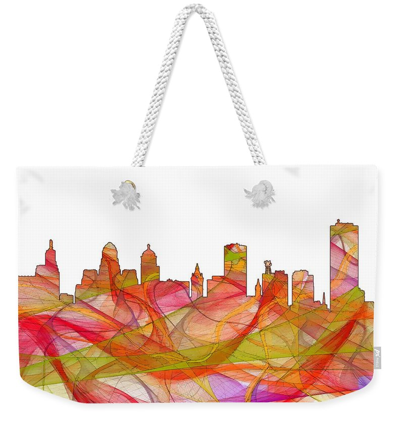 Buffalo New York Skylineskyline Weekender Tote Bag featuring the digital art Buffalo New York Skyline by Marlene Watson