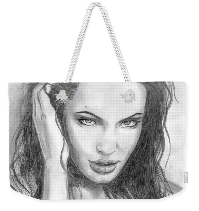Angelina Jolie Weekender Tote Bag featuring the drawing 14 by Kristopher VonKaufman