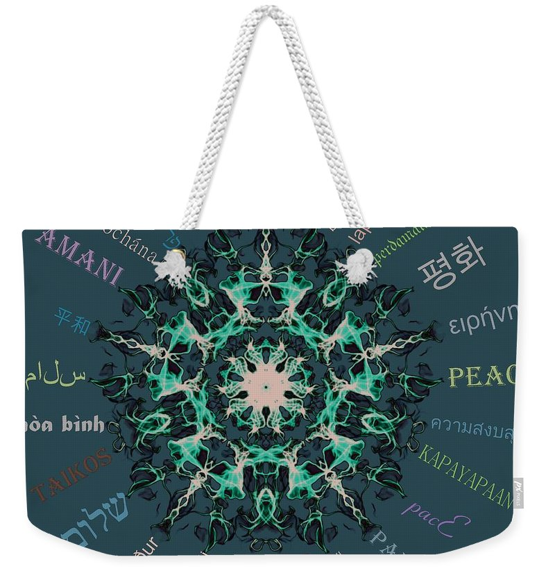 Peace Weekender Tote Bag featuring the digital art Peace All Over The World by Sandrine Kespi