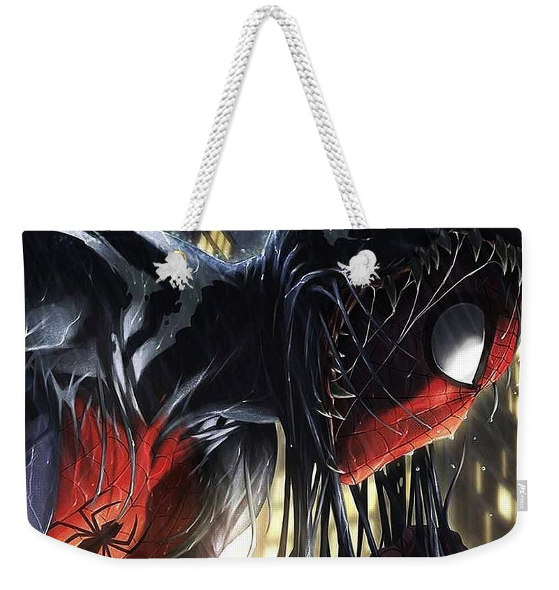 Spider-man Weekender Tote Bag featuring the digital art Spider-Man by Super Lovely