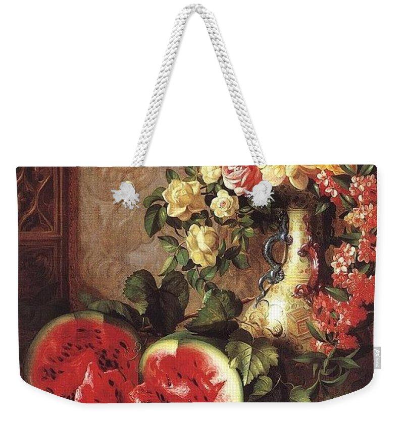 Vase Weekender Tote Bag featuring the digital art bs- George Henry Hall- Still Life George Henry Hall by Eloisa Mannion