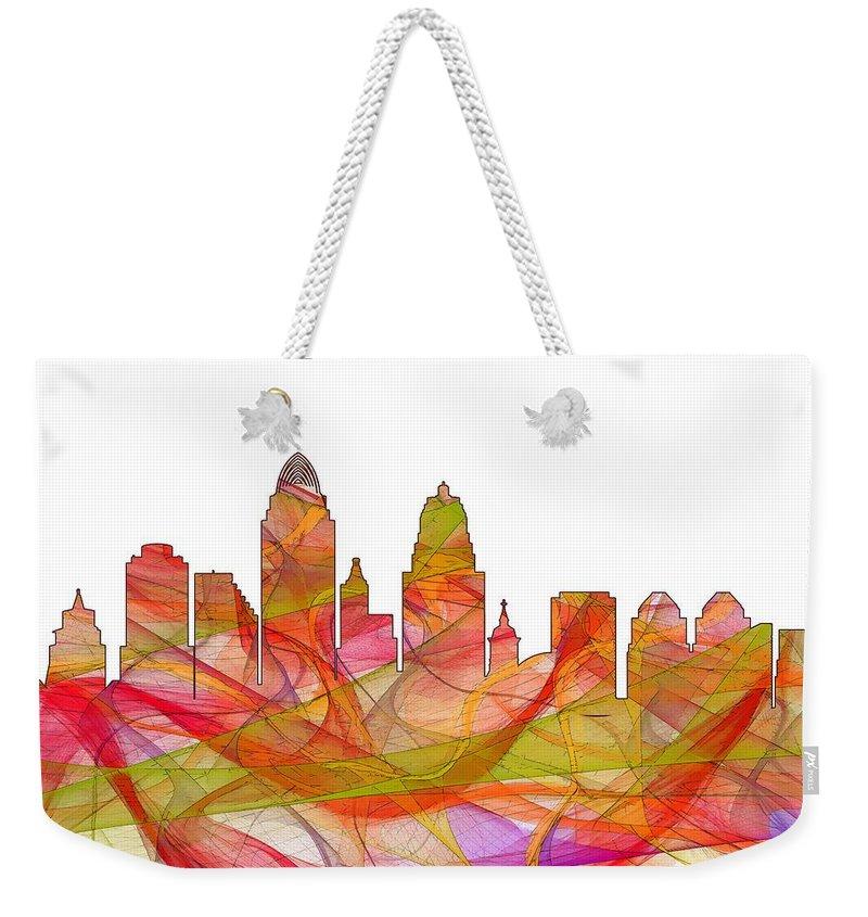 Cincinnati Ohio Skyline Skyline Weekender Tote Bag featuring the digital art Cincinnati Ohio Skyline by Marlene Watson