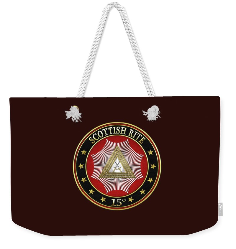'scottish Rite' Collection By Serge Averbukh Weekender Tote Bag featuring the digital art 15th Degree - Knight Of The East Jewel On Black Leather by Serge Averbukh
