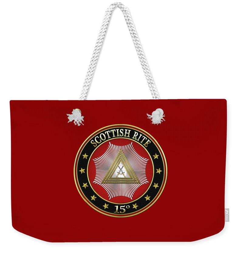 'scottish Rite' Collection By Serge Averbukh Weekender Tote Bag featuring the digital art 15th Degree - Knight Of The East Jewel On Red Leather by Serge Averbukh