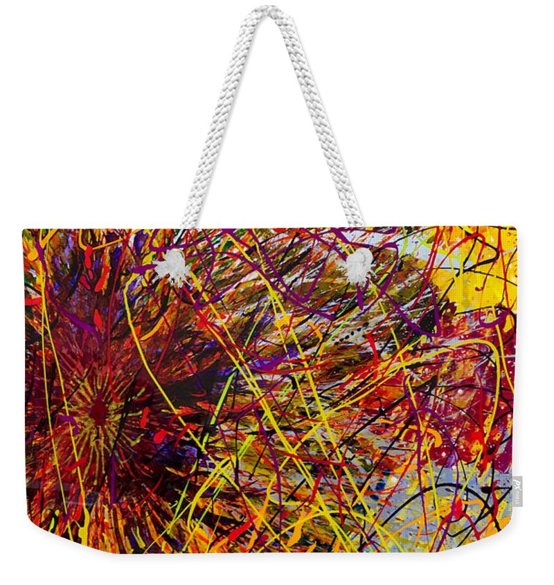 Abstract Weekender Tote Bag featuring the painting 16-10 String Burst by Patrick OLeary