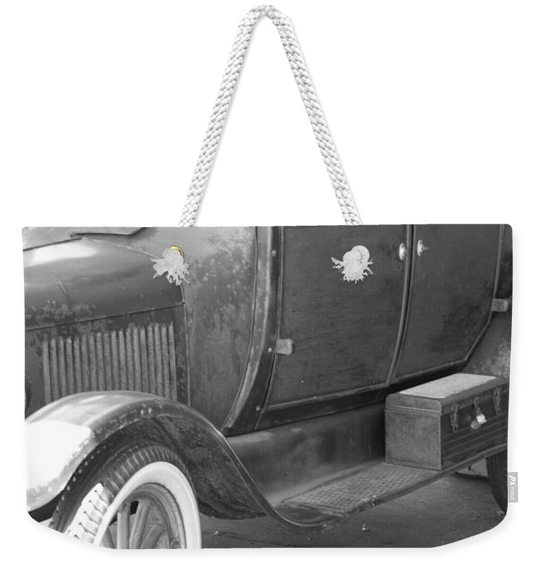 Black And White Weekender Tote Bag featuring the photograph 1926 Model T Ford by Rob Hans