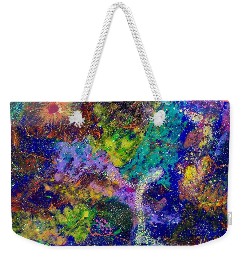 Abstract Weekender Tote Bag featuring the painting 16-6 Lambda Sky by Patrick OLeary