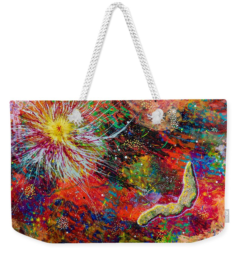 Abstract Weekender Tote Bag featuring the painting 16-9 Red Star Burst by Patrick OLeary