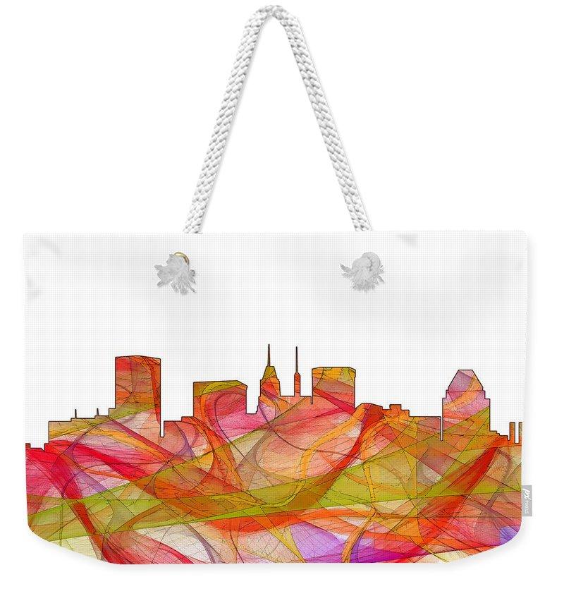 Baltimore Maryland Skylineskyline Weekender Tote Bag featuring the digital art Baltimore Maryland Skyline by Marlene Watson