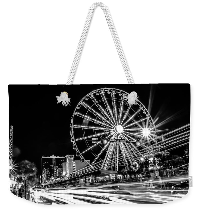 B&w Weekender Tote Bag featuring the photograph Myrtle Beach South Carolina by Alex Grichenko