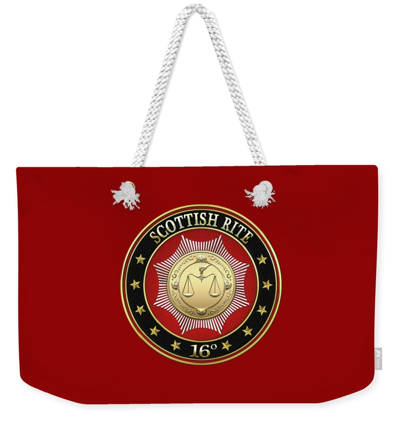 'scottish Rite' Collection By Serge Averbukh Weekender Tote Bag featuring the digital art 16th Degree - Prince Of Jerusalem Jewel On Red Leather by Serge Averbukh