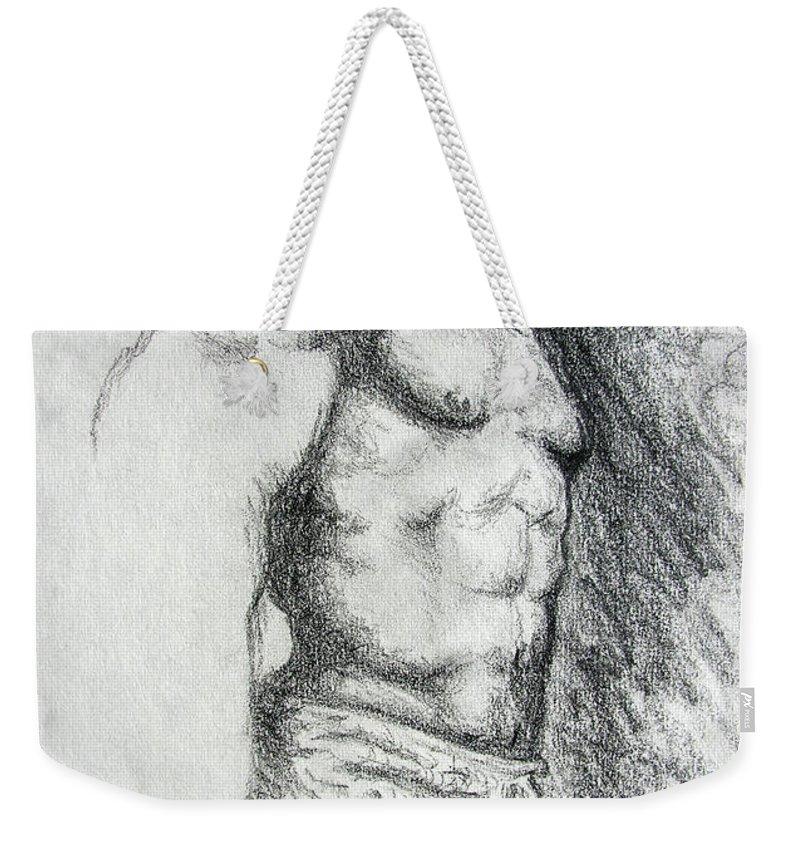Men Weekender Tote Bag featuring the drawing Untitled by Adam Vance