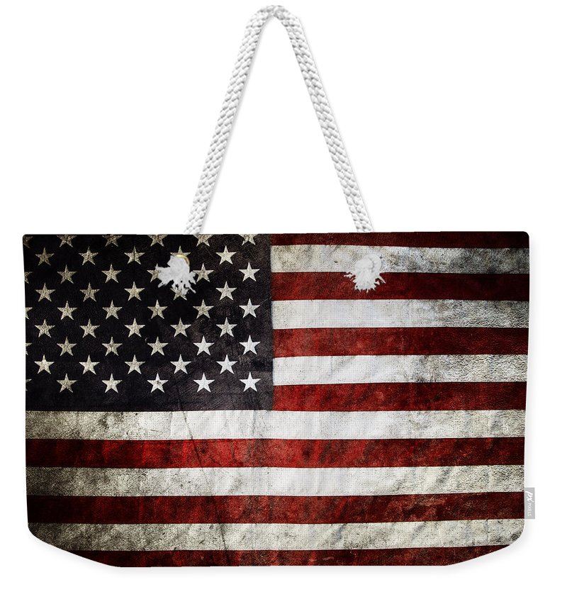 American Flag Weekender Tote Bag featuring the photograph American Flag by Les Cunliffe