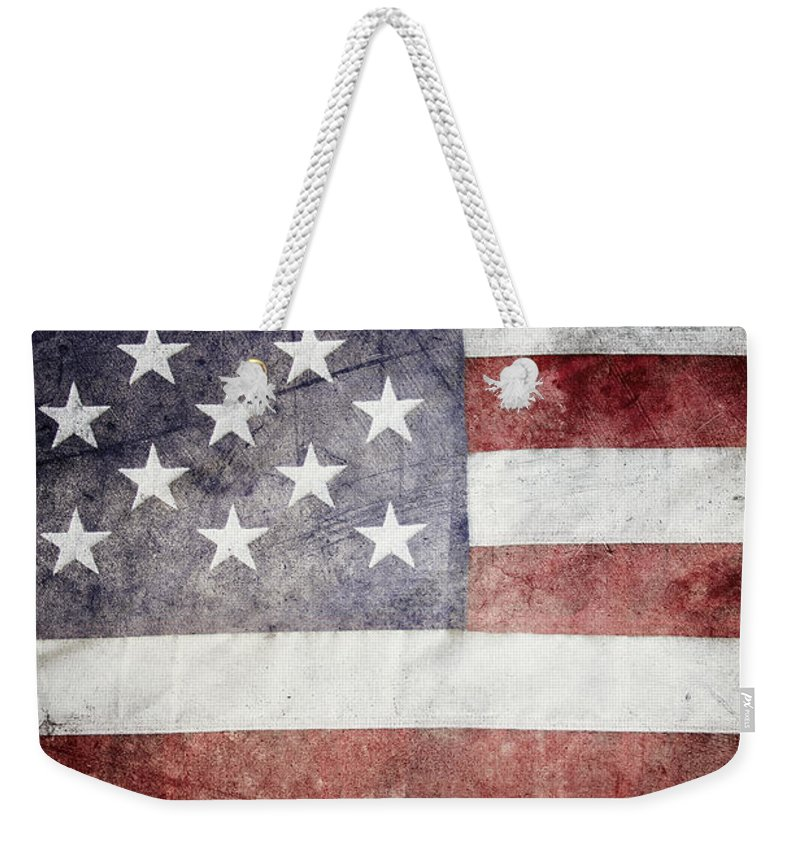 Closeup Weekender Tote Bag featuring the photograph American Flag by Les Cunliffe