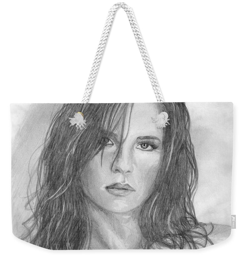 Kelly Monaco Weekender Tote Bag featuring the drawing 18 by Kristopher VonKaufman