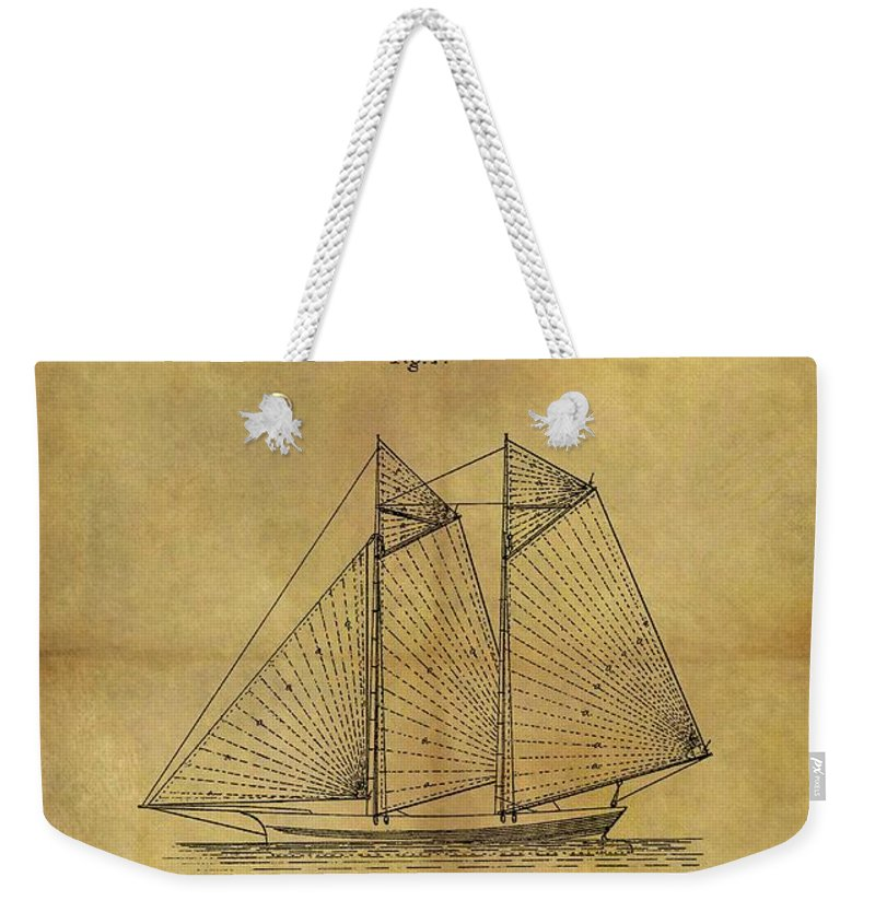 1869 Sailing Ship Patent Weekender Tote Bag featuring the drawing 1869 Sailing Ship Patent by Dan Sproul