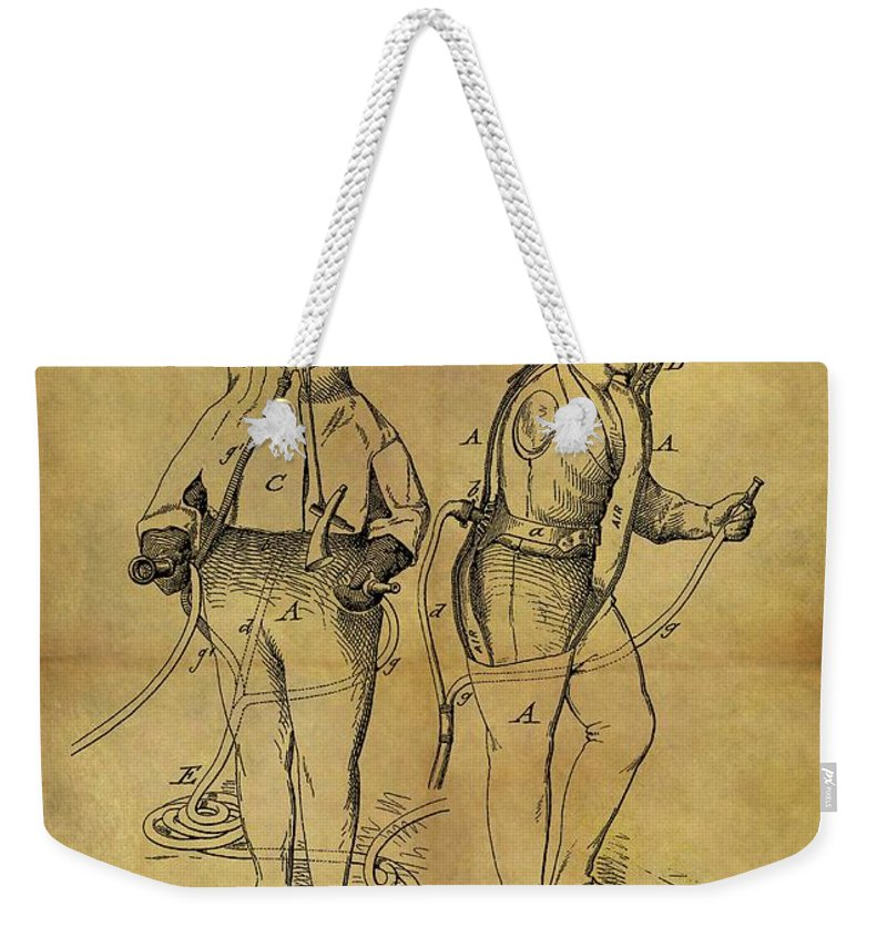 1876 Fireman's Suit Weekender Tote Bag featuring the drawing 1876 Fireman's Suit by Dan Sproul