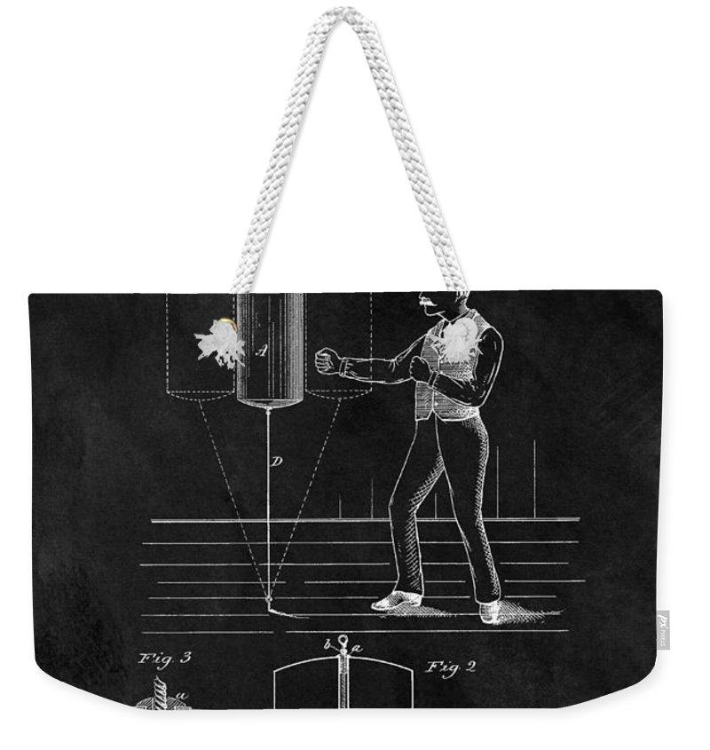 1885 Punching Bag Patent Weekender Tote Bag featuring the drawing 1885 Boxing Bag Patent by Dan Sproul