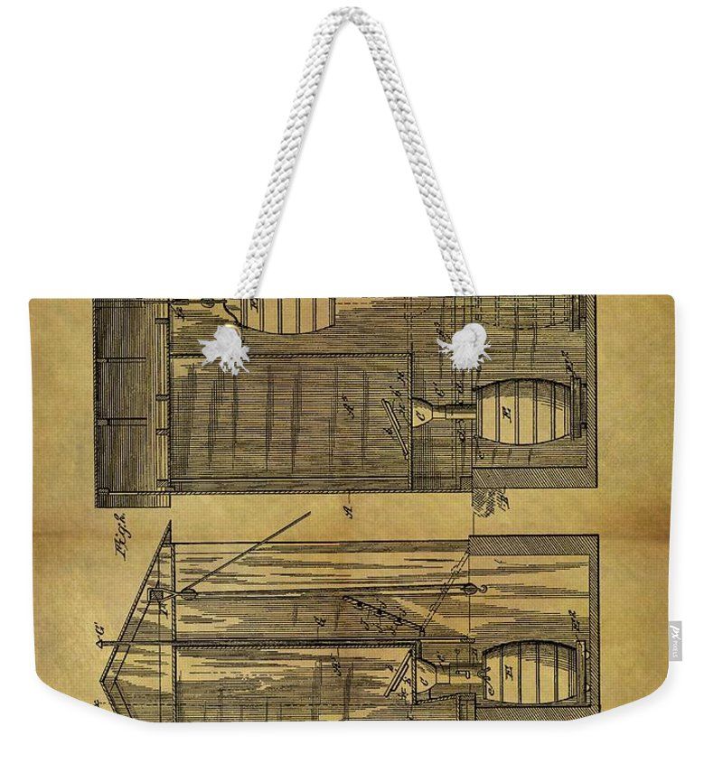 1886 Outhouse Patent Weekender Tote Bag featuring the drawing 1886 Outhouse Patent by Dan Sproul