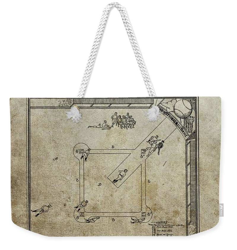 The Invention Of Baseball Weekender Tote Bag featuring the drawing 1887 Baseball Game Patent by Dan Sproul