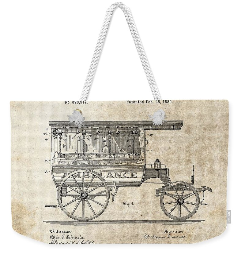 1889 Ambulance Patent Weekender Tote Bag featuring the drawing 1889 Ambulance Patent by Dan Sproul