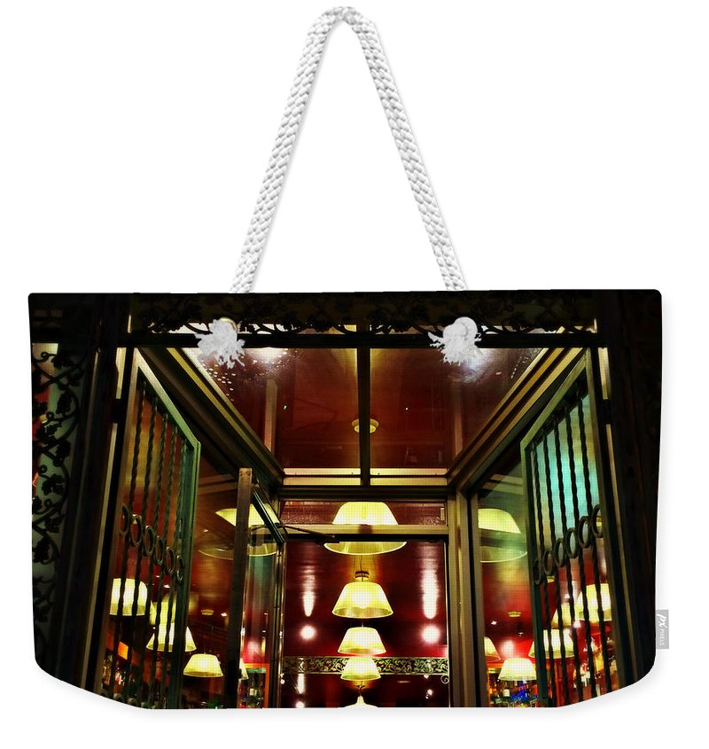 Old-fashioned Weekender Tote Bag featuring the photograph 1890s New York - Old - Fashioned Wine Shop by Miriam Danar