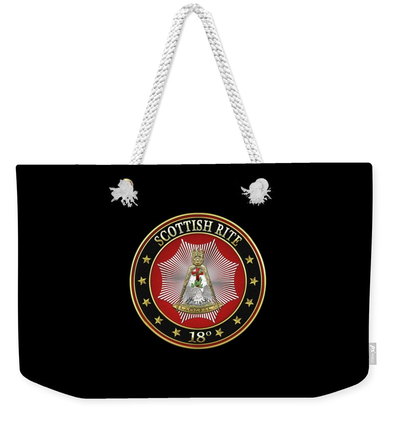 'scottish Rite' Collection By Serge Averbukh Weekender Tote Bag featuring the digital art 18th Degree - Knight Rose Croix Jewel On Black Leather by Serge Averbukh