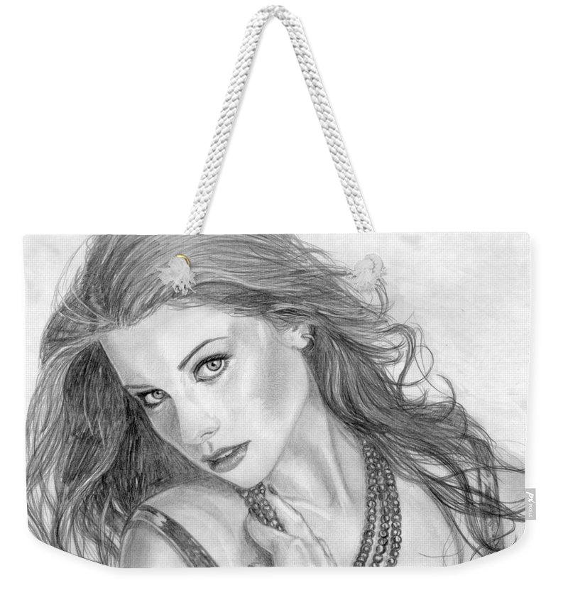 Michelle Trachtenberg Weekender Tote Bag featuring the drawing 19 by Kristopher VonKaufman