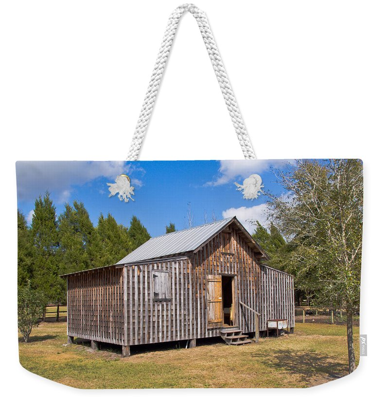 Cabin Weekender Tote Bag featuring the photograph 1905 Florida Wheeler Board And Batten House by Allan Hughes