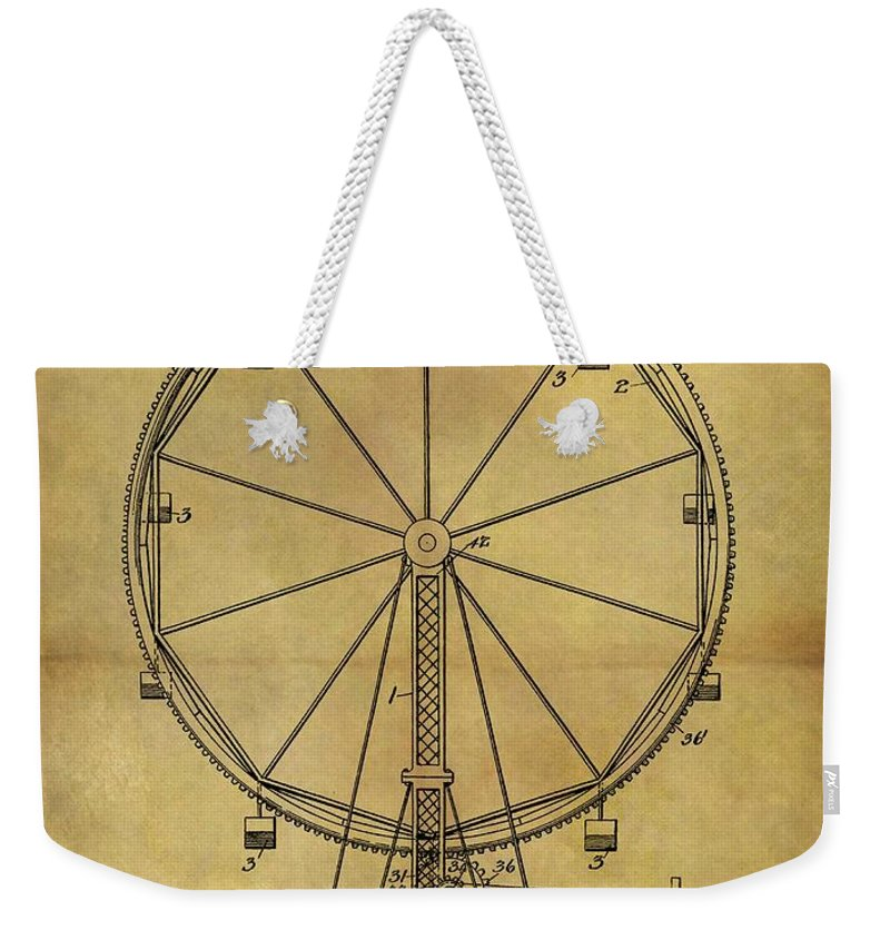 1907 Ferris Wheel Patent Weekender Tote Bag featuring the drawing 1907 Ferris Wheel Patent by Dan Sproul