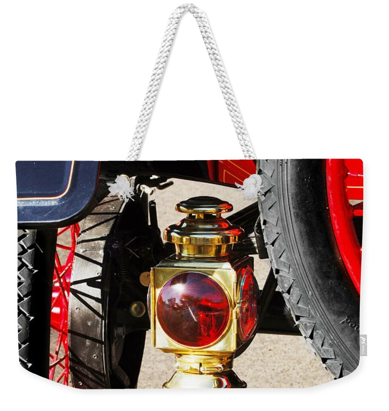 Horseless Carriage Weekender Tote Bag featuring the photograph 1911 Ford Model T Torpedo Lamp by Jill Reger