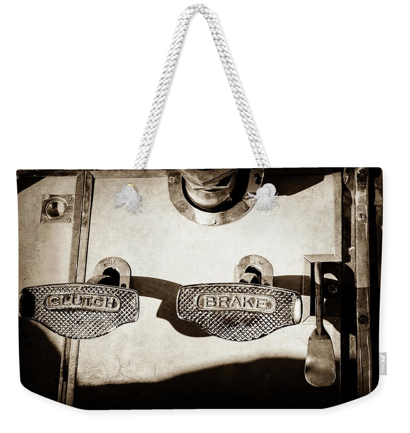 1911 Pope Hartford Model W Control Pedals Weekender Tote Bag featuring the photograph 1911 Pope Hartford Model W Control Pedals -135s by Jill Reger