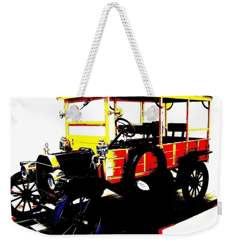 1912 Weekender Tote Bag featuring the digital art 1912 Ford Model T Taxi by Will Borden