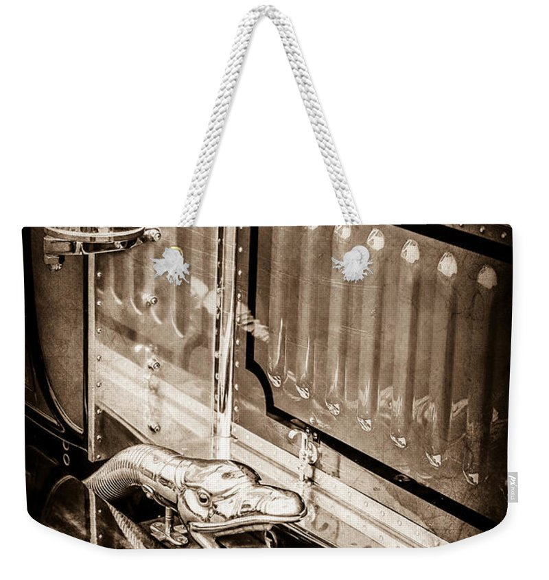 1912 Rolls-royce Silver Ghost Rothchild Et Fils Style Limousine Snake Horn Weekender Tote Bag featuring the photograph 1912 Rolls-royce Silver Ghost Rothchild Et Fils Style Limousine Snake Horn -0711s by Jill Reger