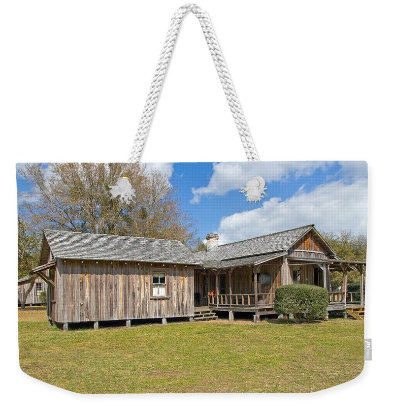 Cabin Weekender Tote Bag featuring the photograph 1912 Simmons Farm In Christmas Florida by Allan Hughes