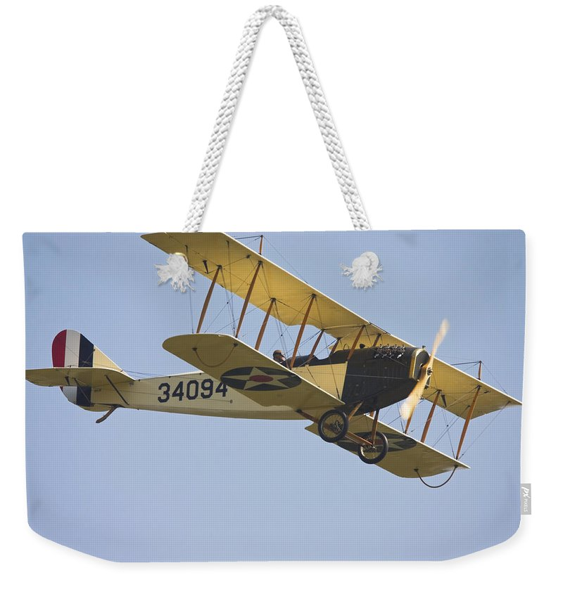 1917 Weekender Tote Bag featuring the photograph 1917 Curtiss Jn-4d Jenny Flying Canvas Photo Poster Print by Keith Webber Jr