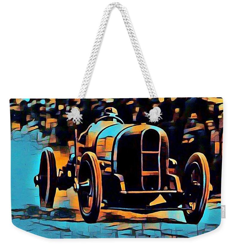 Weekender Tote Bag featuring the digital art 1920's Racing Car by Jean-Louis Glineur alias DeVerviers