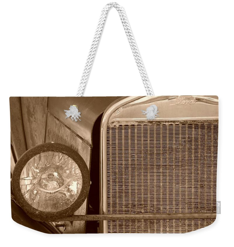 Sepia Weekender Tote Bag featuring the photograph 1926 Model T by Rob Hans