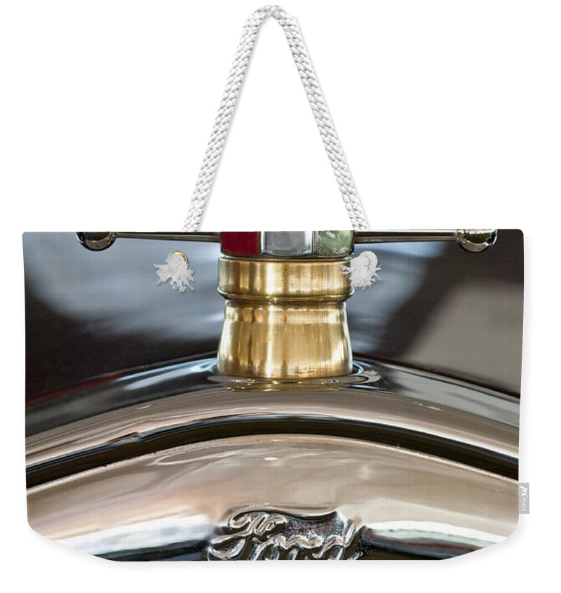 1927 Ford T Roadster Weekender Tote Bag featuring the photograph 1927 Ford T Roadster Hood Ornament by Jill Reger