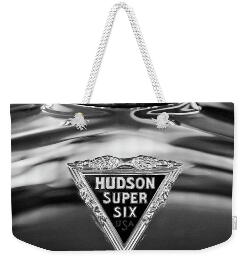 1929 Hudson Cabriolet Weekender Tote Bag featuring the photograph 1929 Hudson Cabriolet Hood Ornament 2 by Jill Reger