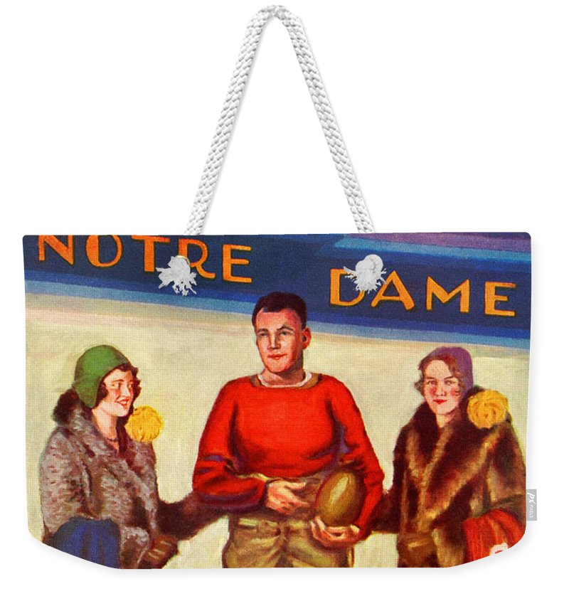 Notre Dame Weekender Tote Bag featuring the painting 1929 Notre Dame Versus Southerncal by John Farr