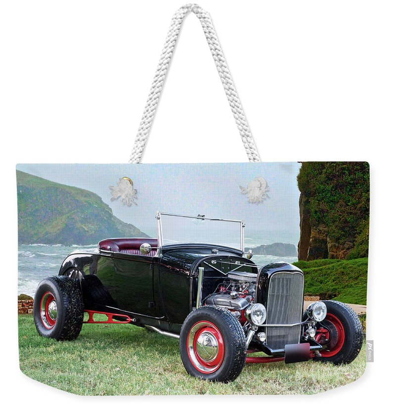 Automobile Weekender Tote Bag featuring the photograph 1930 Ford Model A Roadster 'oceanside' by Dave Koontz