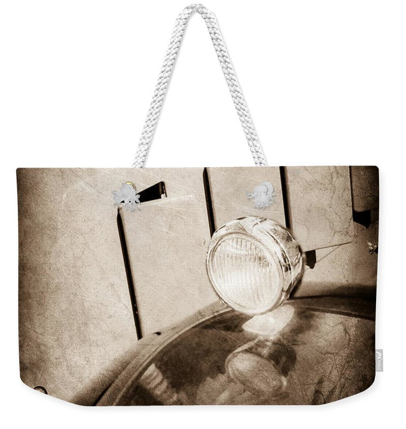 1930 Packard Fender Light Weekender Tote Bag featuring the photograph 1930 Packard Fender Light -0139s by Jill Reger