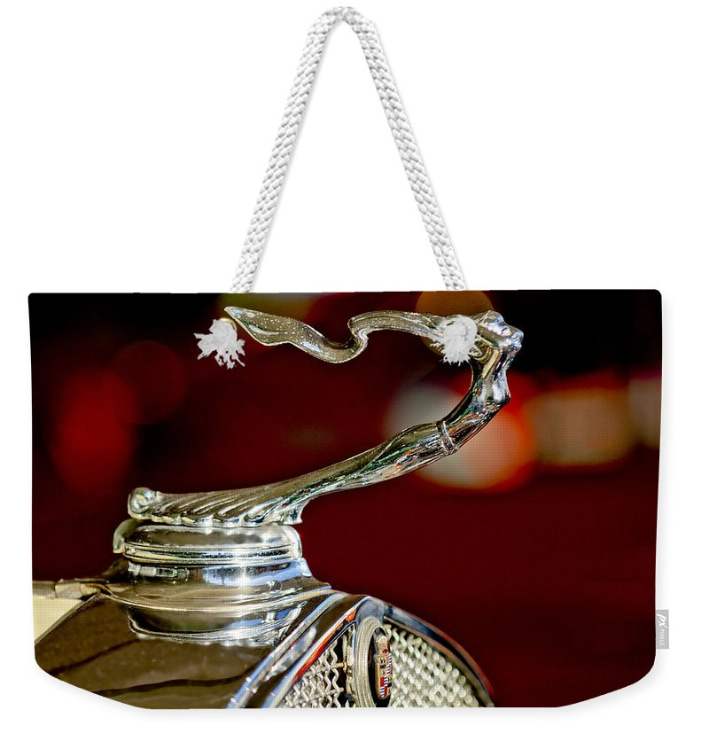 1931 Cadillac 355 A Roadster Weekender Tote Bag featuring the photograph 1931 Cadillac 355 A Roadster Hood Ornament by Jill Reger