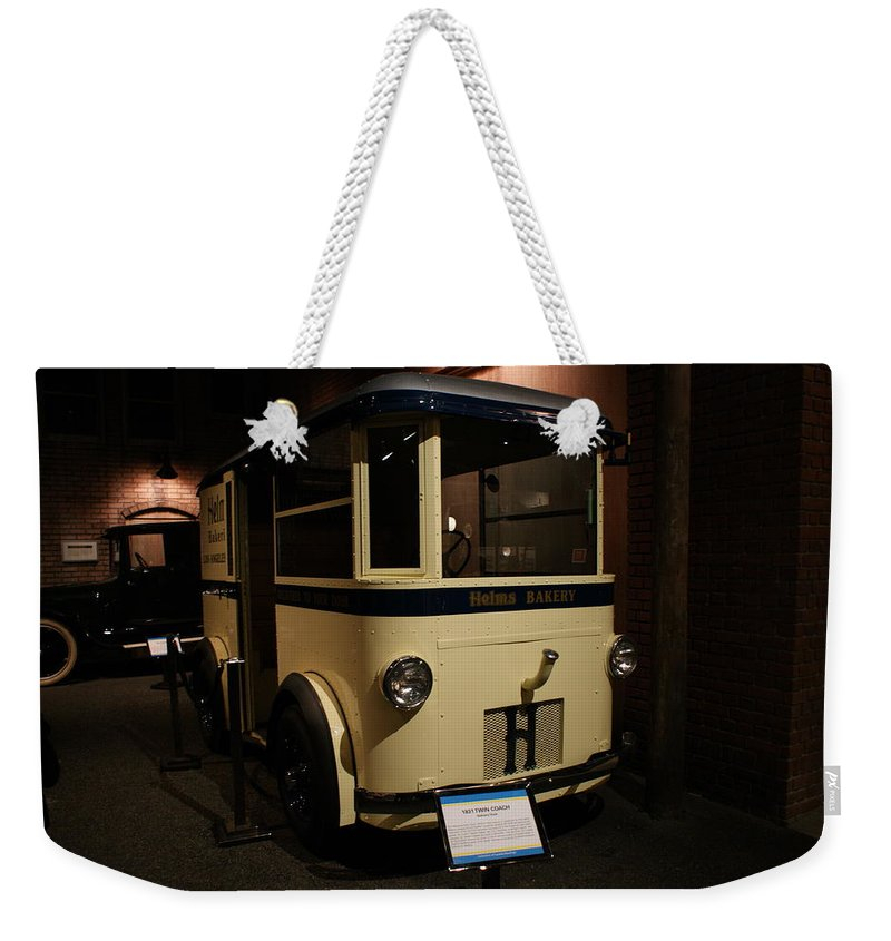 Helms Bakery Truck Weekender Tote Bag featuring the photograph 1931 Helms Bakery Truck by Ernie Echols