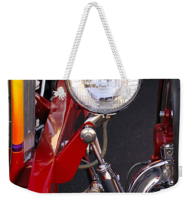 Car Weekender Tote Bag featuring the photograph 1932 Ford Hi-boy Roadster Headlight by Jill Reger