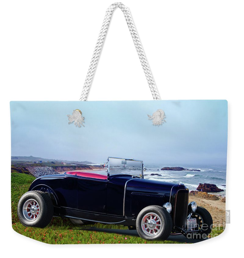 Automobile Weekender Tote Bag featuring the photograph 1932 Ford Roadster 'shoreline' by Dave Koontz