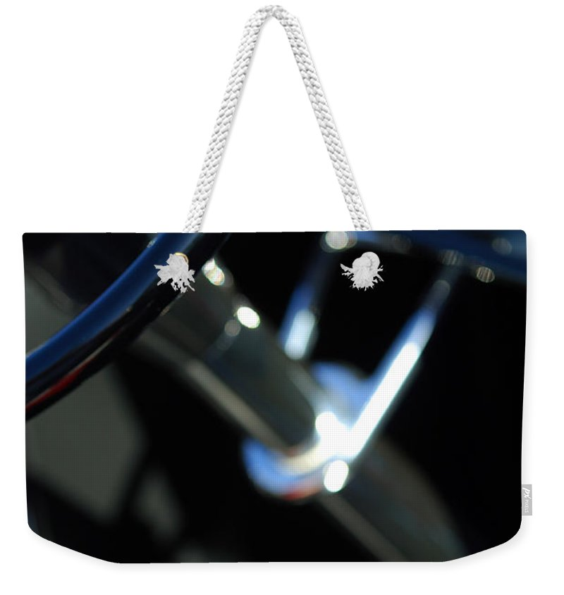 Car Weekender Tote Bag featuring the photograph 1932 Hot Rod Lincoln V12 Gear Shifter by Jill Reger